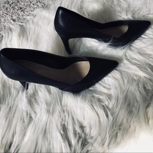 Cathy Jean Black Leather Pumps